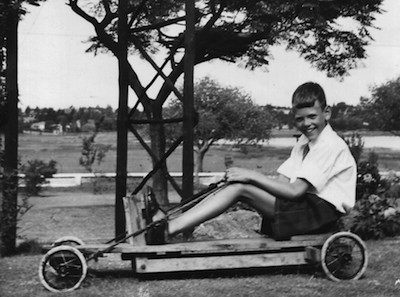 1950s go-kart with pan in background